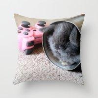 gamer Throw Pillows featuring Gamer Bunny by Natasha Alexandra Englehardt