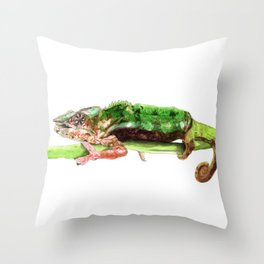 Panther Chameleon on a branch Throw Pillow