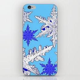 BEAUTIFUL BLUE & WHITE SNOW CRYSTALS  DESIGN iPhone Skin