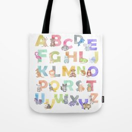 Watercolor Alphabet Animals Tote Bag