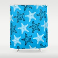 starfish Shower Curtains featuring Starfish by Dana Martin