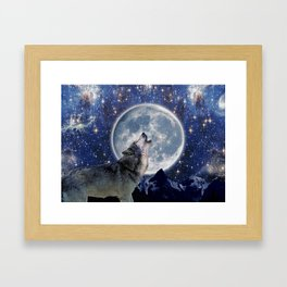 A One Wolf Moon Framed Art Print
