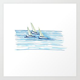 Three sailboats regatta in calm water. White yachts. Blue background. Hand-drawn sketch by markers. Art Print