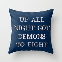 inner demons Throw Pillows featuring Demons by Leona LA