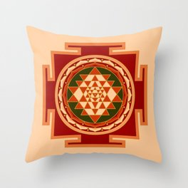 Colored Sri Yantra II Throw Pillow