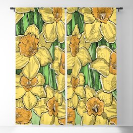 Yellow Daffodils line drawing Blackout Curtain