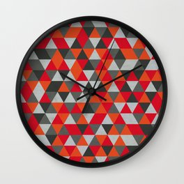Hot Red and Grey / Gray -  Geometric Triangle Pattern Wall Clock