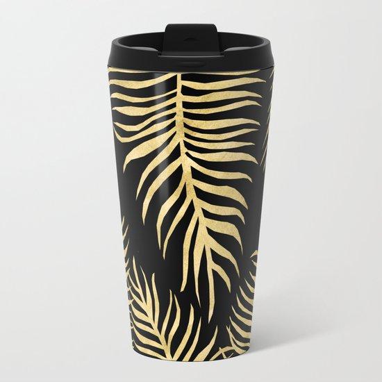 Fern Pattern Gold On Black Background Metal Travel Mug