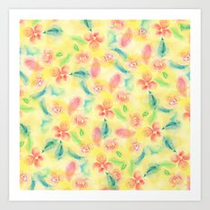 Summer pink yellow romantic floral watercolor paint Art Print