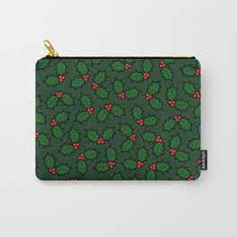 Holly Leaves and Berries Pattern in Dark Green Carry-All Pouch