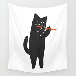 Black cat with flute Wall Tapestry