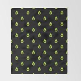 Avocado Hearts (black background) Throw Blanket