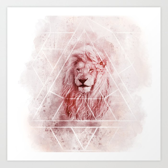 Sacred Majestic Red Lion Spirit Animal Art Print By Bluethistleart