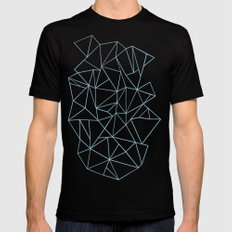 Abstraction Outline Sky Blue SMALL Black Mens Fitted Tee