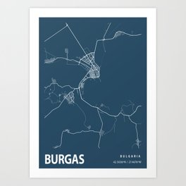 Burgas Blueprint Street Map, Burgas Colour Map Prints Art Print