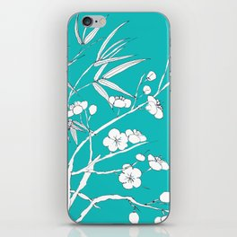 bamboo and plum flower white on blue iPhone Skin