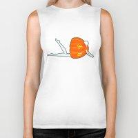 pumpkin Biker Tanks featuring Pumpkin by Nadina Embrey - Artist / Illustrator