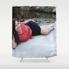 Hispanic Woman Creek Shower Curtain