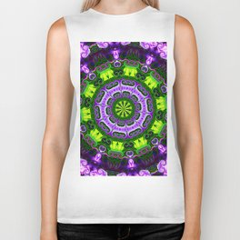Mandala purple and green Biker Tank