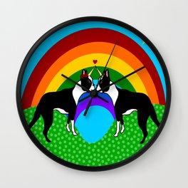Boston Terrier Unicorn Love Wall Clock