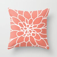 Throw Pillows featuring Coral Modern Dahlia Flower by AleDan