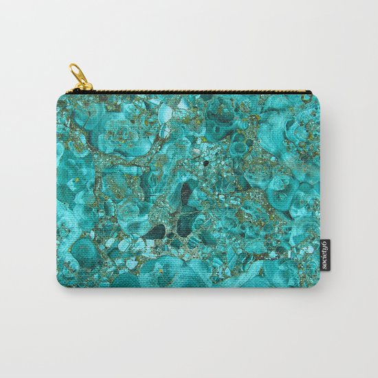 Marble Turquoise Blue Gold Carry-All Pouch
