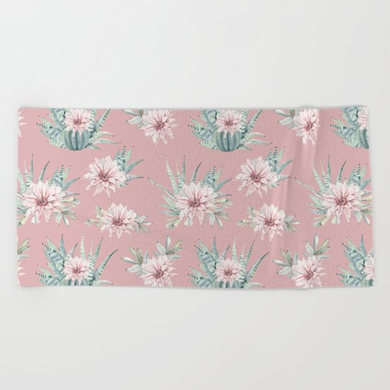 Echeveria Garden Roses Coral Rose Pink Beach Towel