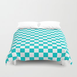 White and Cyan Checkerboard Duvet Cover