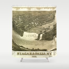 NIAGARA FALLS New-York city old map Father Day art print poster Shower Curtain