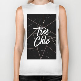 Tres Chic Black Geometric Marble Gold Triangles Biker Tank