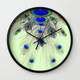 DECORATIVE BLUE GREEN PEACOCK FEATHER & JEWELS #3 PATTERN Wall Clock