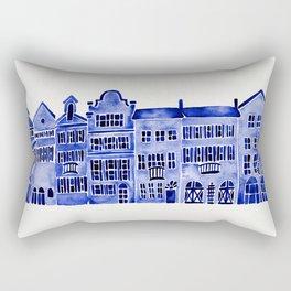 Row of Houses – Navy Palette Rectangular Pillow