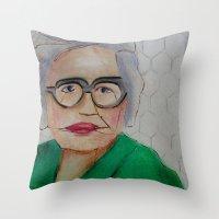 helen green Throw Pillows featuring Chicken Hen Helen by Yvonne H Antonsen