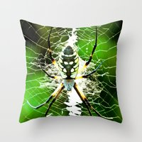 returns Throw Pillows featuring Spidey Returns by TexasArt