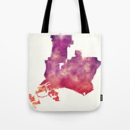 Long Beach California city watercolor map in front of a white background Tote Bag
