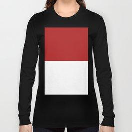 White and Firebrick Red Horizontal Halves Long Sleeve T-shirt