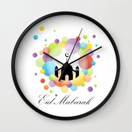 Mosque dome and minaret silhouette Wall Clock