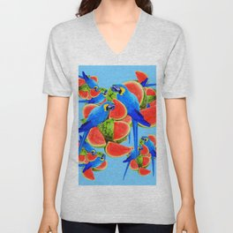 BLUE MACAWS & WATERMELONS PATTERN ON BLUE Unisex V-Neck