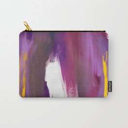 Royalty: a bold, colorful abstract piece in vibrant purples and yellow Carry-All Pouch