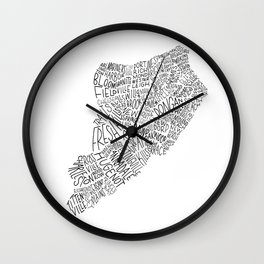 Staten Island - Hand Lettered Map Wall Clock