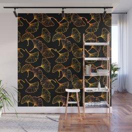 Ginkgo Leaf (Black Glow) - Gold Wall Mural
