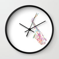 saxophone Wall Clocks featuring Stylized  saxophone by Rceeh