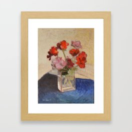Geraniums in Glass Still Life Painting Framed Art Print