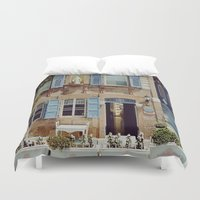 jewish Duvet Covers featuring Blue Shutters in the Sun by Brown Eyed Lady