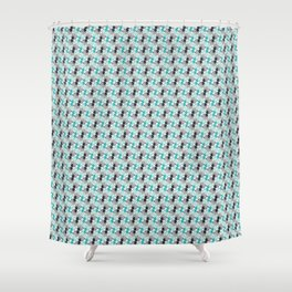 Teal/Gray Geometric Puppies Shower Curtain
