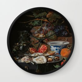 Still life with fruits, oysters and a porcelain bowl, Abraham Mignon (1660 - 1679) Wall Clock