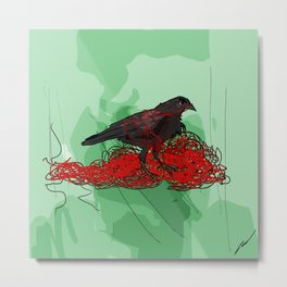 Tangled Crow Metal Print