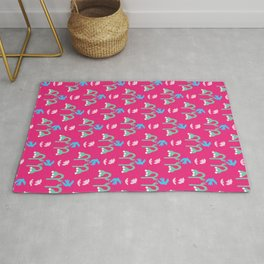Abstract cut out bird bell flower shapes. Rug
