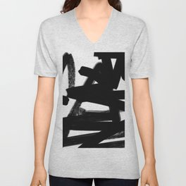 Thinking Out Loud - Black and white abstract painting, raw brush strokes Unisex V-Neck