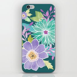 Watercolo Flowers on Teal iPhone Skin